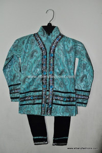 Blue Green Fancy Girls Churidar Set Size 24