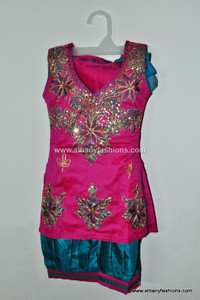 Pink Blue Patiyala Girls Churidar Set Size 22