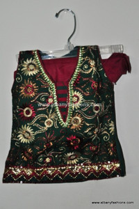 Green Red Girls Churidar Set Size 16