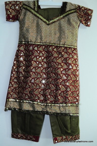 Brown Green Salwar Suit for Girls Size 28