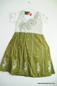 Green White Churidar Suit for Girls Size 36