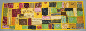 Indian Wall Hanging - Rectangle - Yellow with Multi Patch