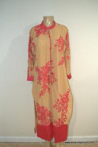 2886-Anarkali Churidar Suit-Cream
