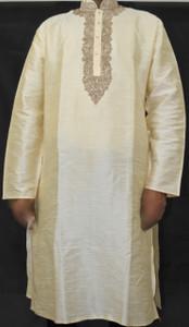 Cream Kurta w/ Gold Stitching