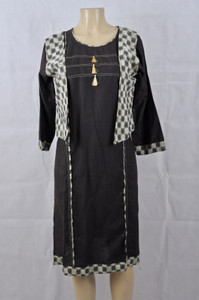 Brown Kurti with a checkered vest