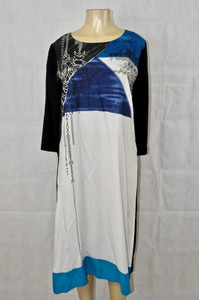 White Black and blue geometric kurti