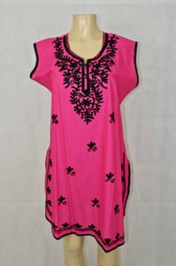 Pink kurti with black designs