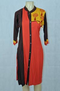 Brown red & yellow kurti