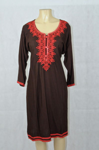 Brown kurti with red designs