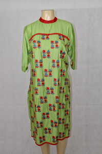 Green kurti with red&blue designs