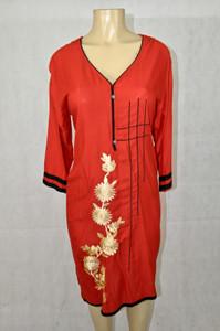 Red Kurti with cream designs