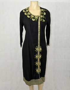 Black kurti with cream designs