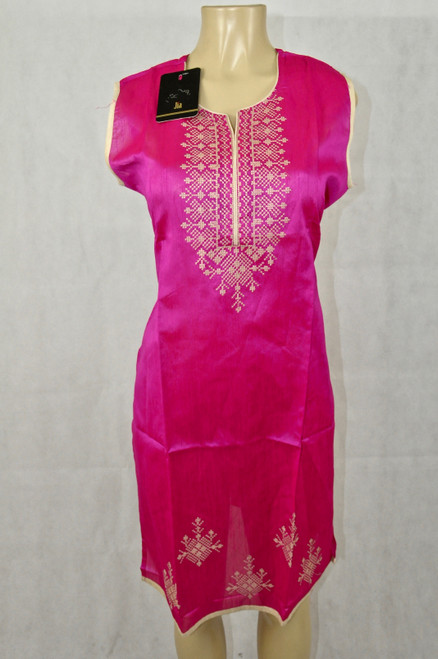 Hot pink kurti with cream details