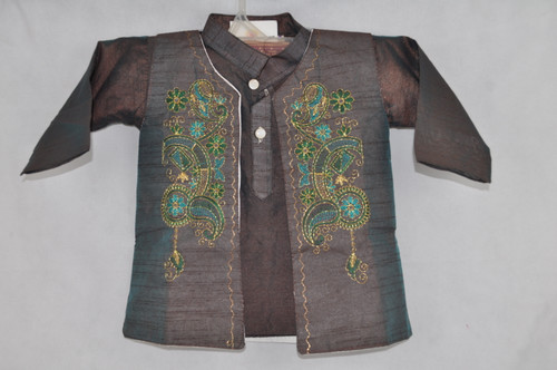 1006 Shiny brown kurta set with stitching work
