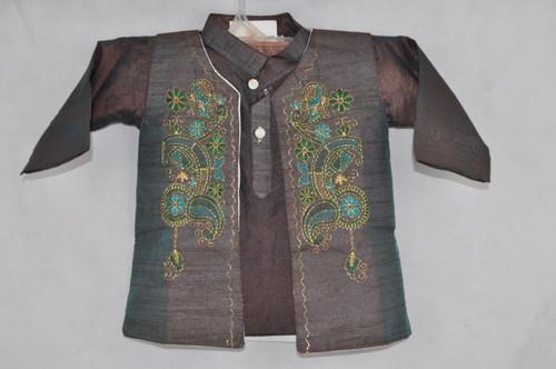 1006 Shiny brown kurta set with stitching work