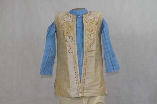 1004 Sky blue kurta with beige vest