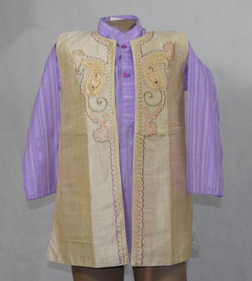 1010 Beige and Purple Designer Kurta set