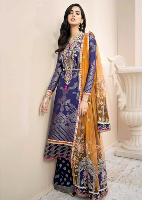 Blue and Orange Designer Suit