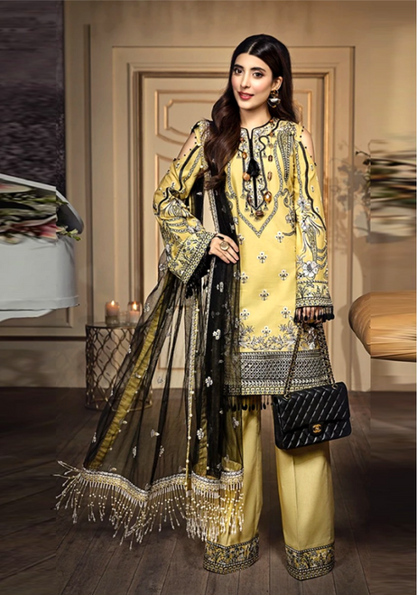 Yellow Embroidered and Designer Suit