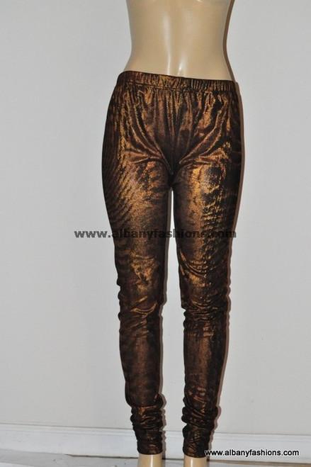 brown shiny leggings