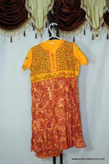 Yellow orange Floral Churidar Suit