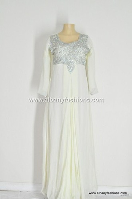Corset Long Full Length Beaded Pleated White Wedding / Prom Gowns