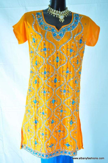 Yellow and Blue Churidar Suit