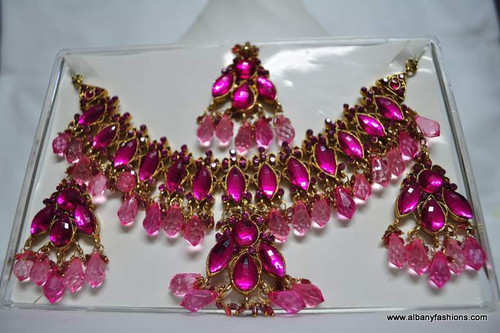 Pink Stone Studded Necklace with Ear Rings and Tikka Set