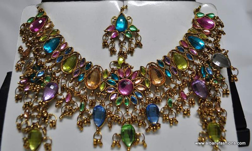 Multi Color Stones Studded Necklace with Ear Rings and Tikka