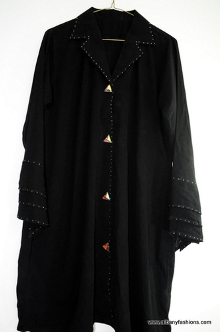 Short Black Abaya with Fancy buttons / Jilbabs / Hijabs / Indian Burka