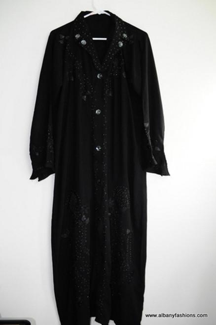 Black Abaya Jilbab Burka Fancy buttons