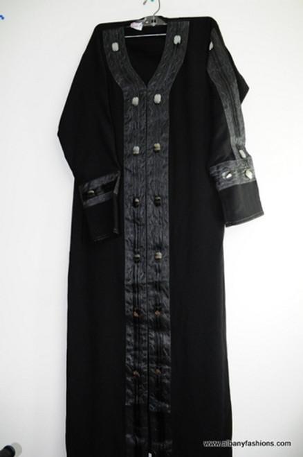 Black Fancy button Abayas / Jilbabs / Hijabs / Indian Burka