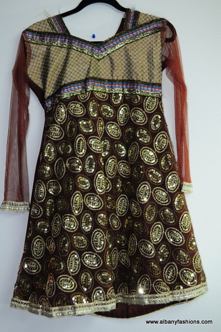 Brown Netted Salwar Suit Size 36
