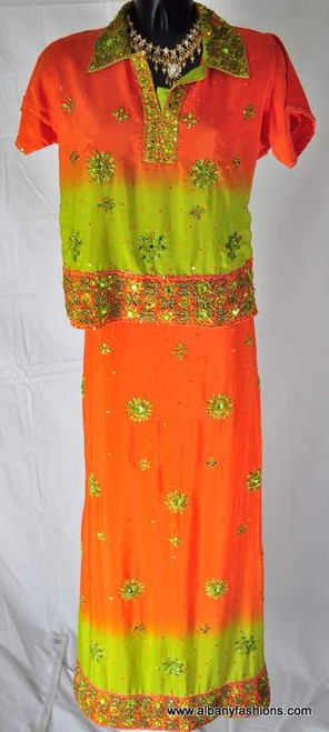 Lenga Choli-Orange and Light Green