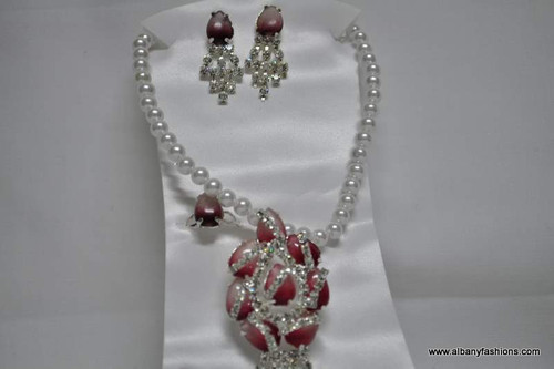 Pearl Chain with Pink Pendant and Matching Ear Rings Set