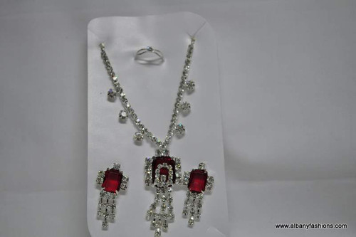 Silver Chain with Red Pendant with Matching Ear Rings Set