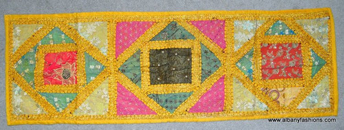 Indian Wall Hanging - Rectangle - Yellow with Pink