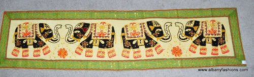 Indian Wall Hanging - Rectangle - Green Four Elephants