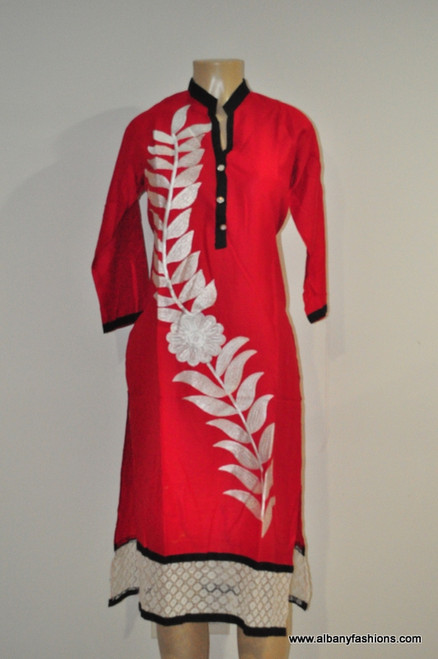 Albfas Designer Long Kurti - RedWhite