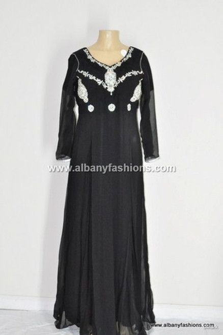 Corset Long Full Length Beaded Pleated Black Wedding / Prom Gowns