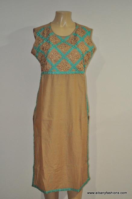 Albfas Designer Long Kurti -CreamTorquoise
