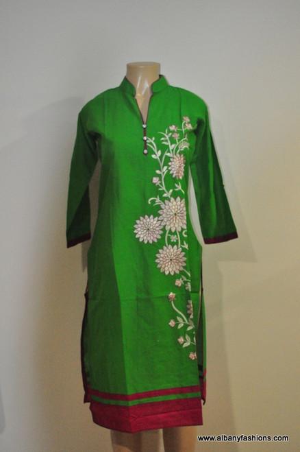 Albfas Designer Long Kurti - GreenWhite