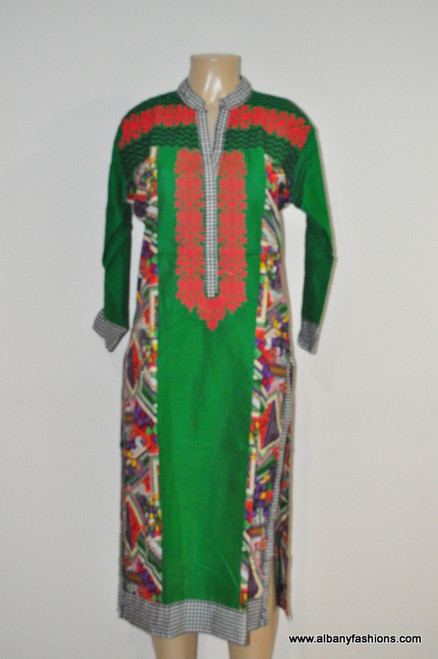 Albfas Designer Long Kurti - GreenRed