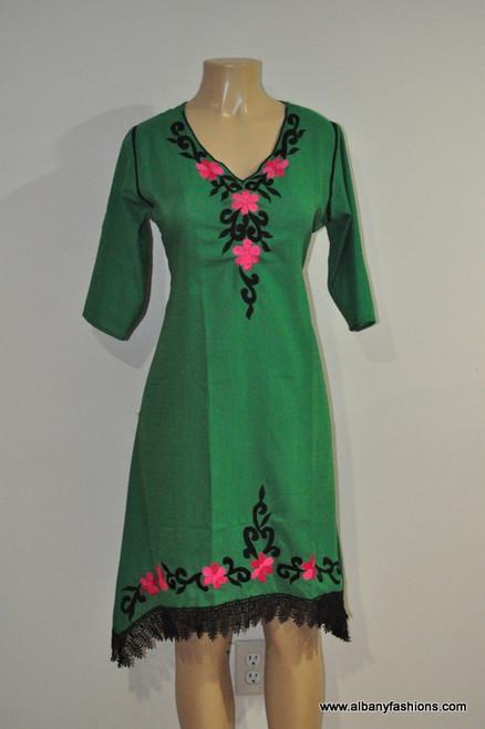 Albfas Designer Long Kurti - GreenBlackLace