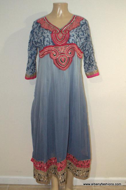 2887-Anarkali Churidar Suit-Blue