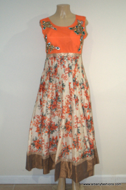 2897-Anarkali Churidar Suit-Orange