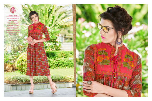 Patterned Red POONAM BIBA RAYON SUMMER COLLECTION Kurti