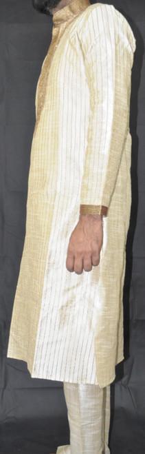 Designer Cream Kurta w/ Gold Stitching