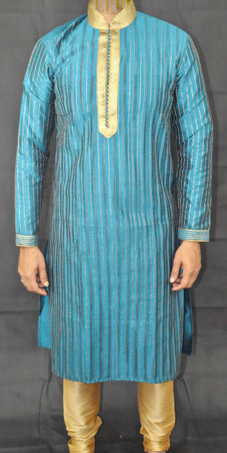 Dark Turquoise Suit with gold stitching