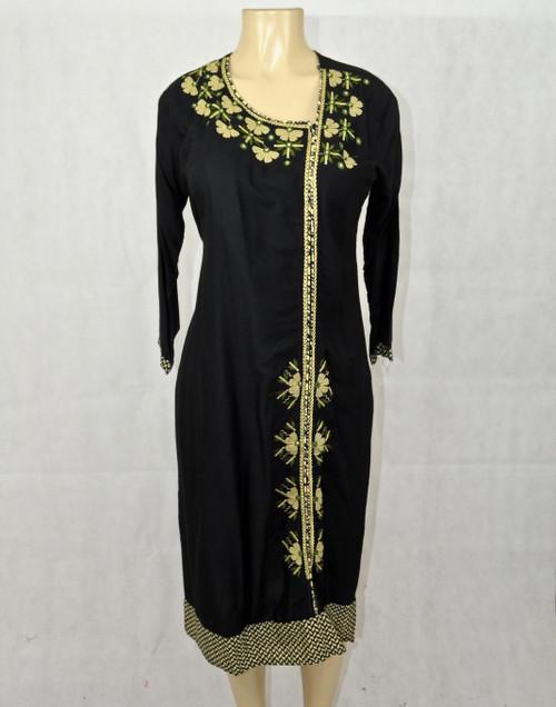 Black kurti with cream designs